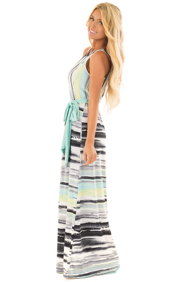 Mint Multicolor Streaked Maxi Dress with Mint Waist Tie side full body