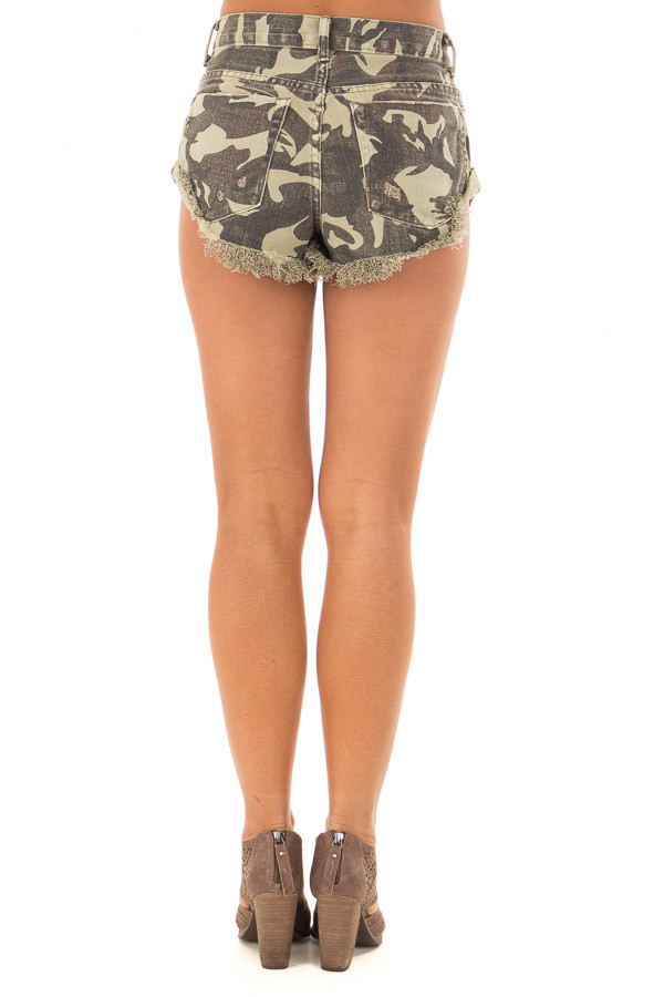 Camo Print Shorts with Distressed Details back