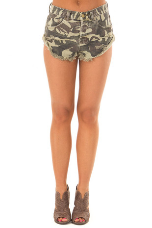 Camo Print Shorts with Distressed Details front