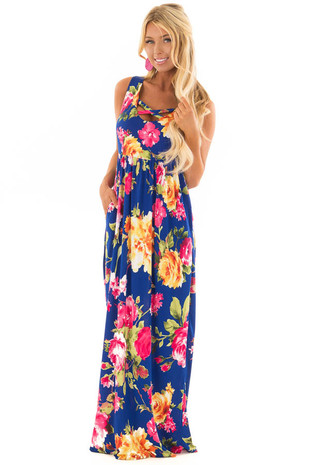 Cobalt Blue Floral Print Maxi Dress with Pockets front full body