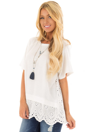 Off White Top with Lace Eyelet Contrast Back front closeup