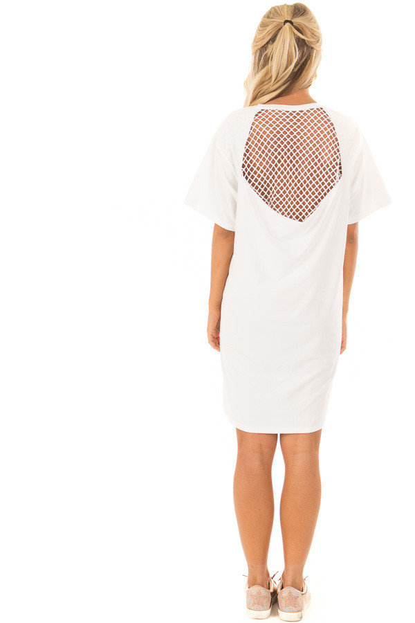 Ivory Super Soft Mesh Cut Out Short Sleeve Tunic Dress back full body