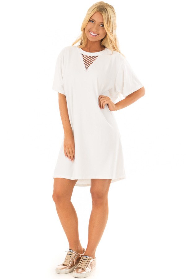 Ivory Super Soft Mesh Cut Out Short Sleeve Tunic Dress front full body