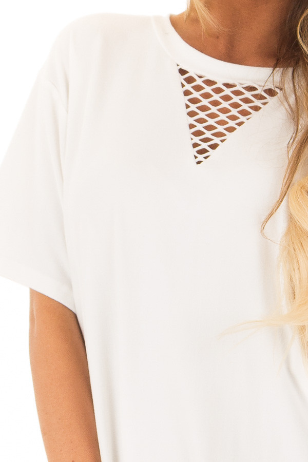 Ivory Super Soft Mesh Cut Out Short Sleeve Tunic Dress front detail