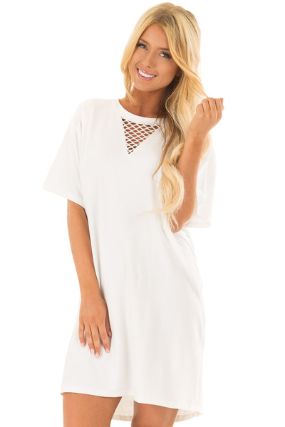 Ivory Super Soft Mesh Cut Out Short Sleeve Tunic Dress front closeup