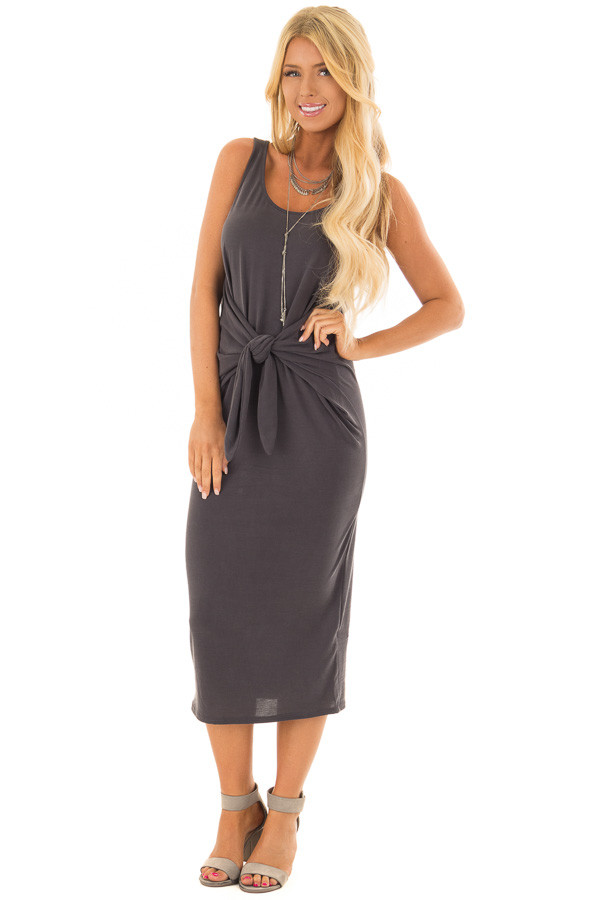 Charcoal Sleeveless Mini Dress with Waist Tie Detail front full body