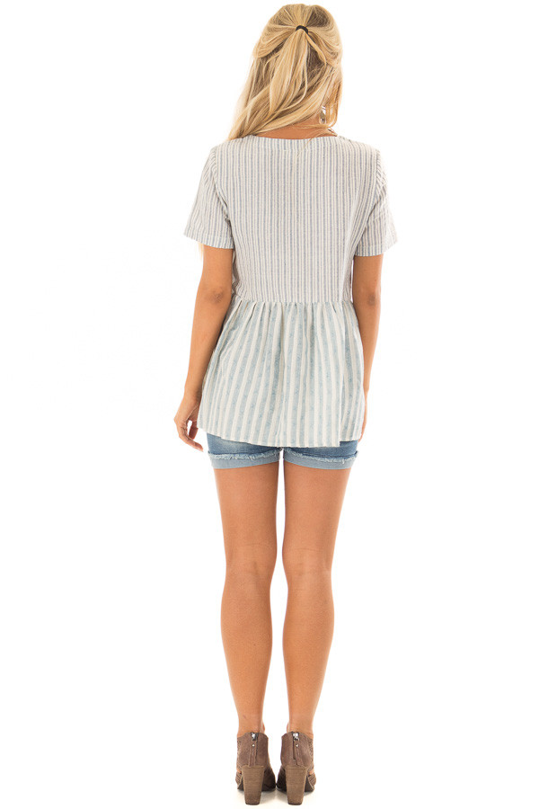 Cream and Light Blue Striped Babydoll Top back full body