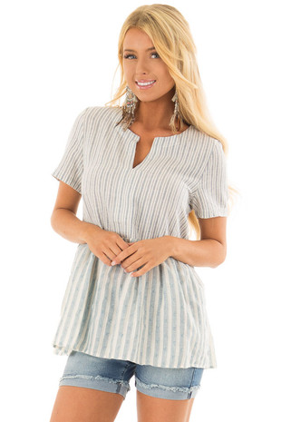 Cream and Light Blue Striped Babydoll Top front closeup