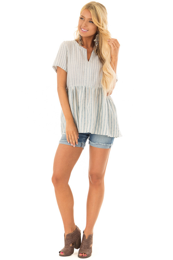 Cream and Light Blue Striped Babydoll Top front full body