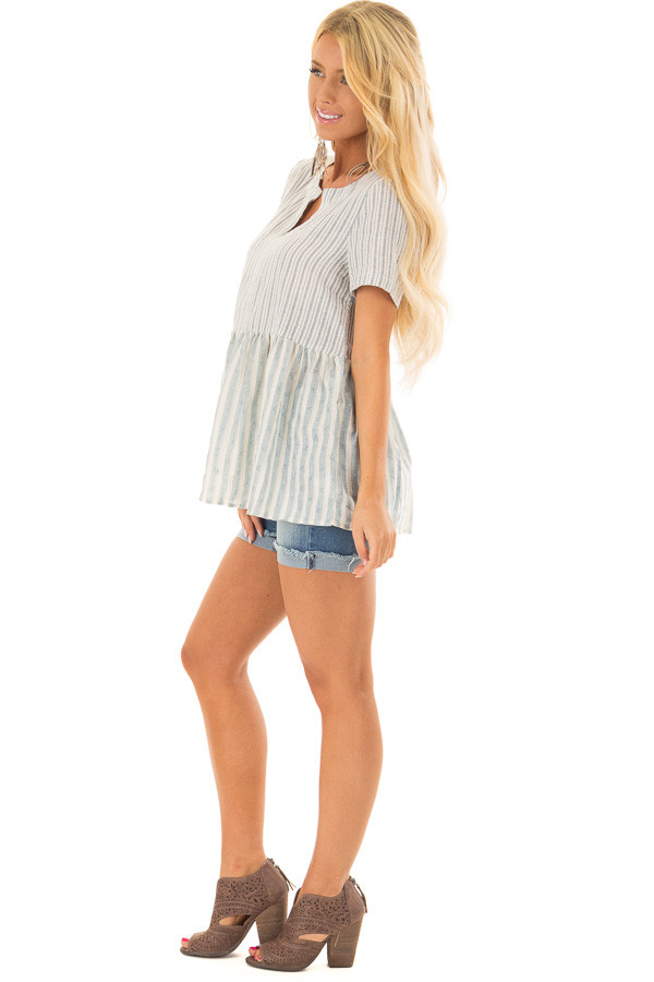 Cream and Light Blue Striped Babydoll Top side full body