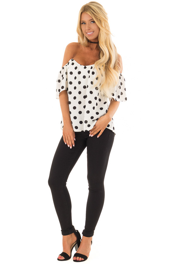 White and Black Polka Dot Off the Shoulder Top front full body