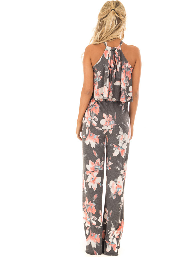 Charcoal Floral Halter Back Tie Jumpsuit with Ruffle Detail back full body