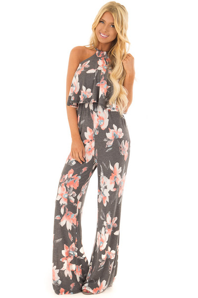 Charcoal Floral Halter Back Tie Jumpsuit with Ruffle Detail front close up