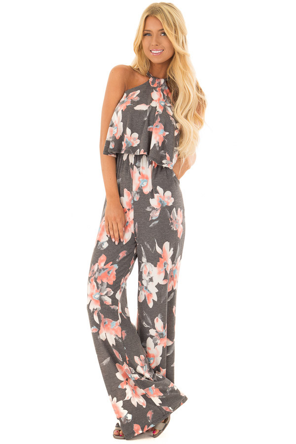 Charcoal Floral Halter Back Tie Jumpsuit with Ruffle Detail front full body