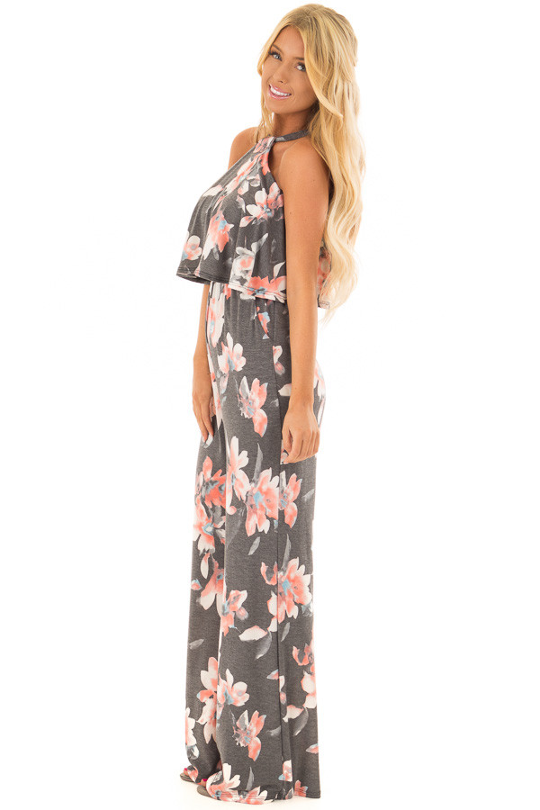 Charcoal Floral Halter Back Tie Jumpsuit with Ruffle Detail side full body