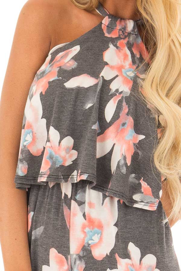 Charcoal Floral Halter Back Tie Jumpsuit with Ruffle Detail detail