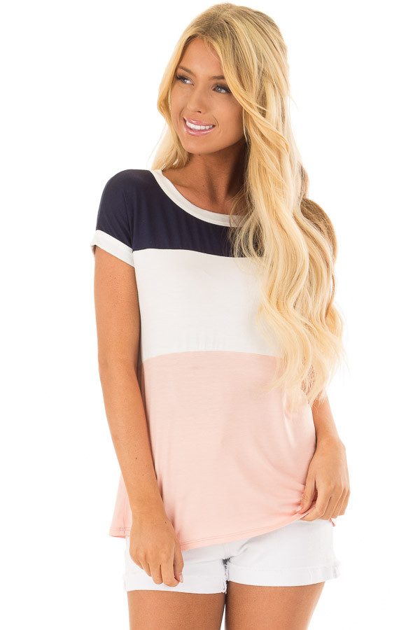 Navy White and Blush Color Block Tee Shirt front close up