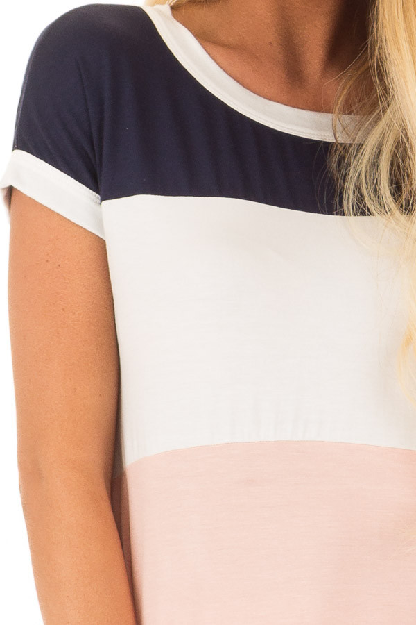 Navy White and Blush Color Block Tee Shirt detail