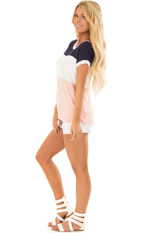 Navy White and Blush Color Block Tee Shirt side full body