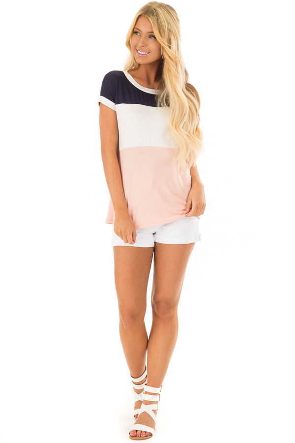 Navy White and Blush Color Block Tee Shirt front full body