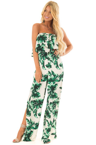 Kelly Green Leaf Print Strapless Jumpsuit with Side Slits front full body