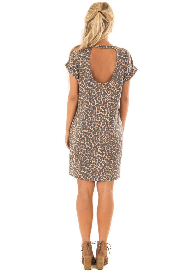 Leopard Print Short Sleeve Dress with Back Cut Out back full body