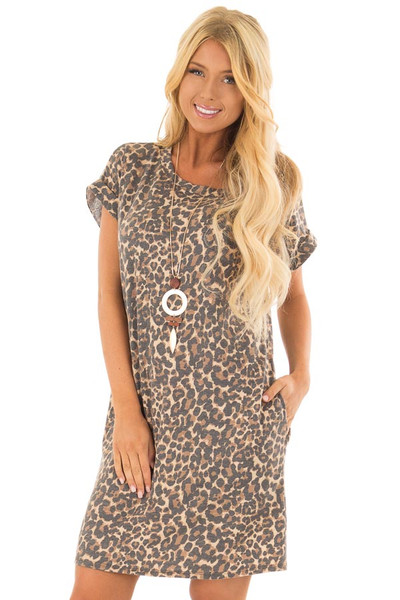 Leopard Print Short Sleeve Dress with Back Cut Out front closeup