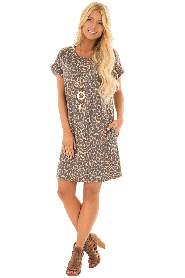 Leopard Print Short Sleeve Dress with Back Cut Out front full body