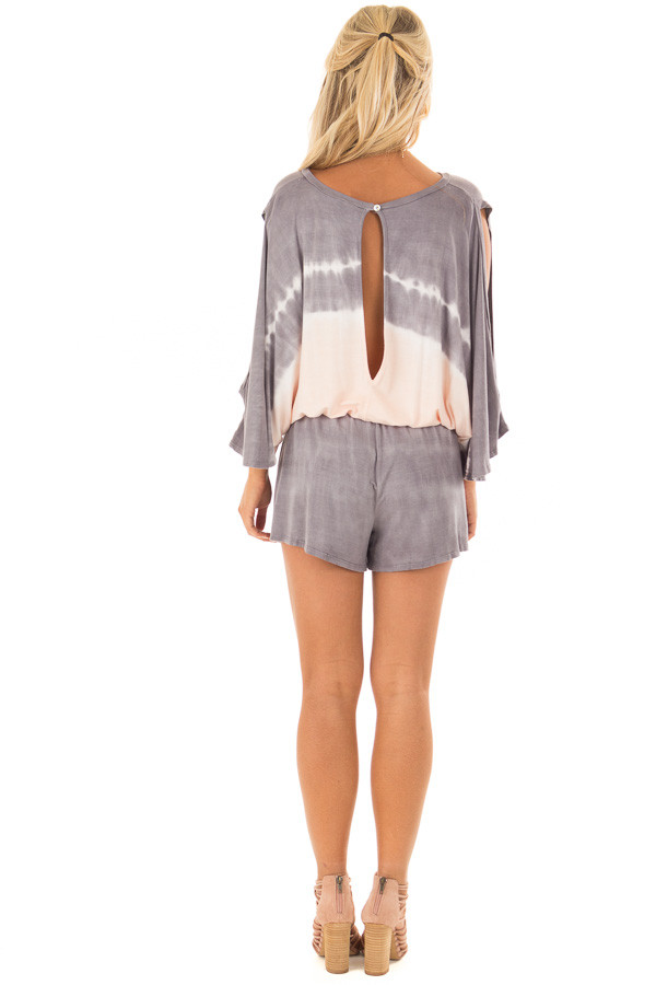 Stormy Grey and Peach Tie Dye Cold Shoulder Romper back full body