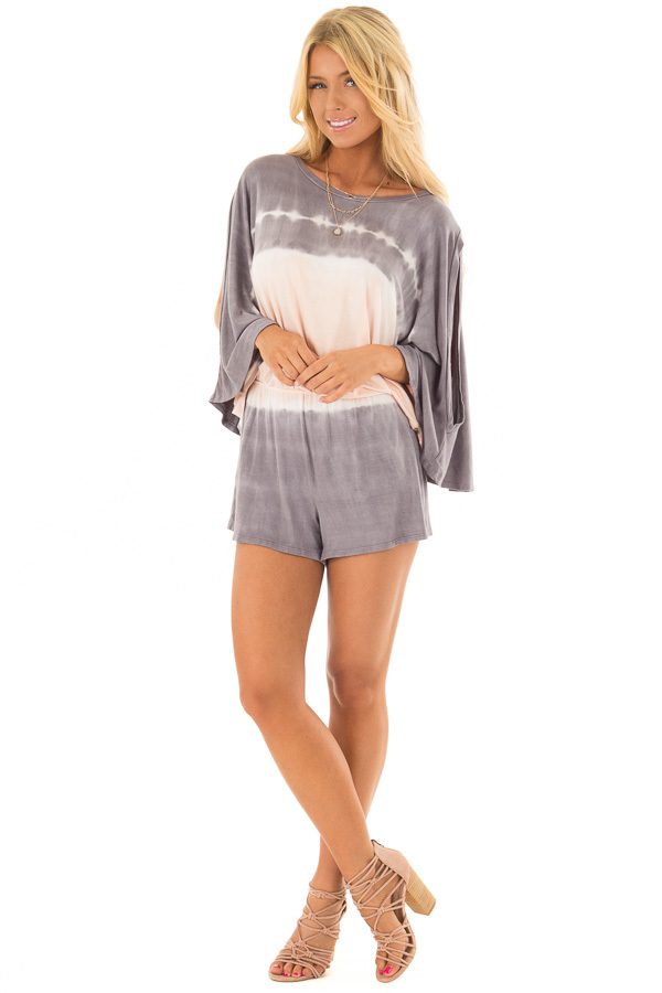 Stormy Grey and Peach Tie Dye Cold Shoulder Romper front full body