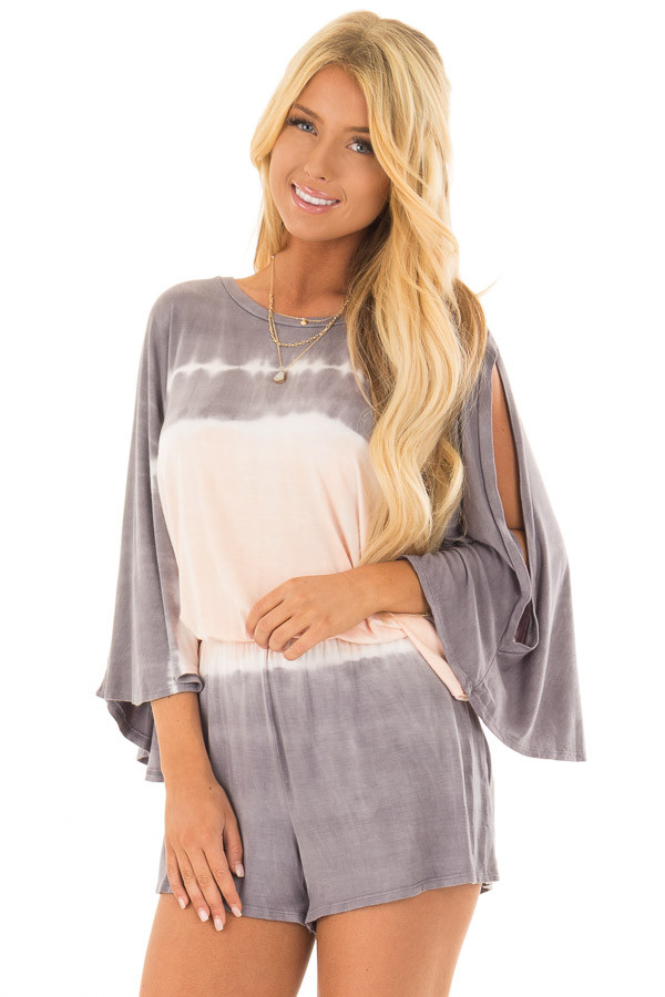 Stormy Grey and Peach Tie Dye Cold Shoulder Romper front close up