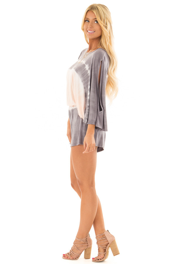 Stormy Grey and Peach Tie Dye Cold Shoulder Romper side full body