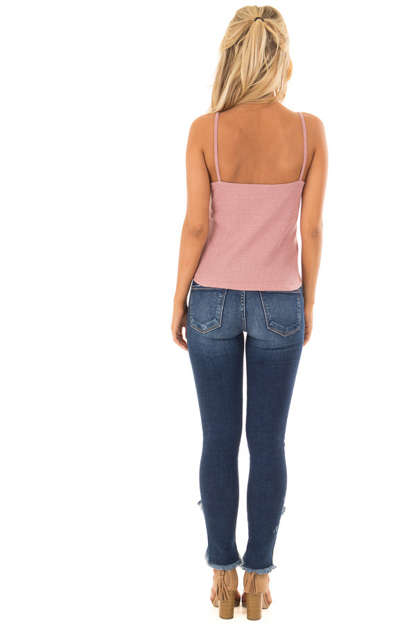 Dusty Mauve Ribbed Tank Top with Front Tie back full body