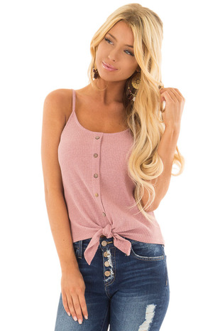 Dusty Mauve Ribbed Tank Top with Front Tie front close up