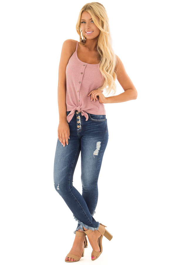 Dusty Mauve Ribbed Tank Top with Front Tie front full body