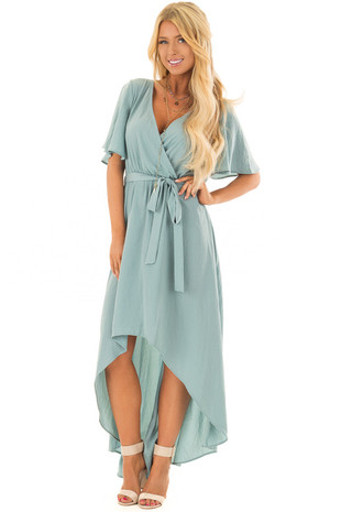 Sea Foam Short Sleeve Maxi Dress with Surplice Neckline front full body