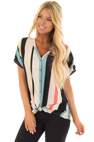 Multicolor Striped Button Up Top with Front Tie Detail front close up