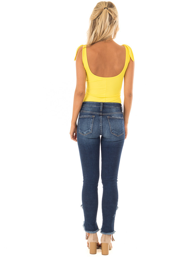 Lemon Yellow Sleeveless Body Suit with Front Tie back full body