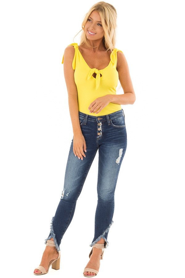 Lemon Yellow Sleeveless Body Suit with Front Tie front full body