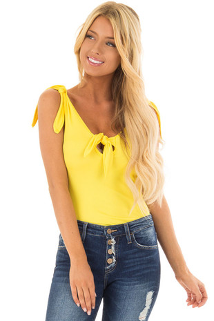 Lemon Yellow Sleeveless Body Suit with Front Tie front close up