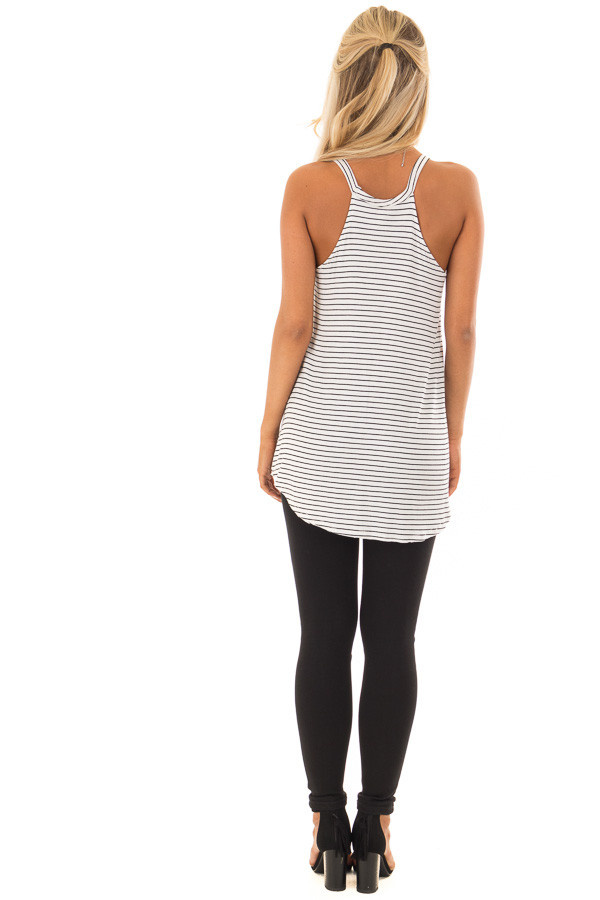 Black and White Striped High Neck Tank Top back full body