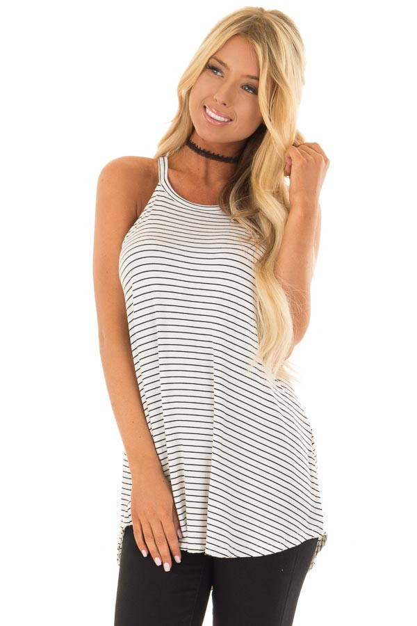 Black and White Striped High Neck Tank Top front close up