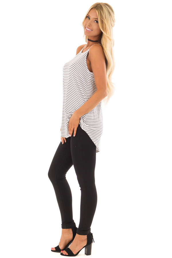 Black and White Striped High Neck Tank Top side full body