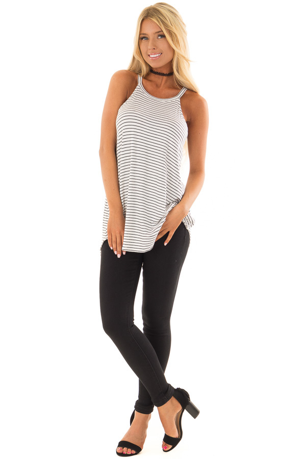 Black and White Striped High Neck Tank Top front full body