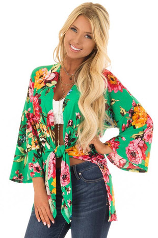 Kelly Green Floral Print Open Kimono front close up