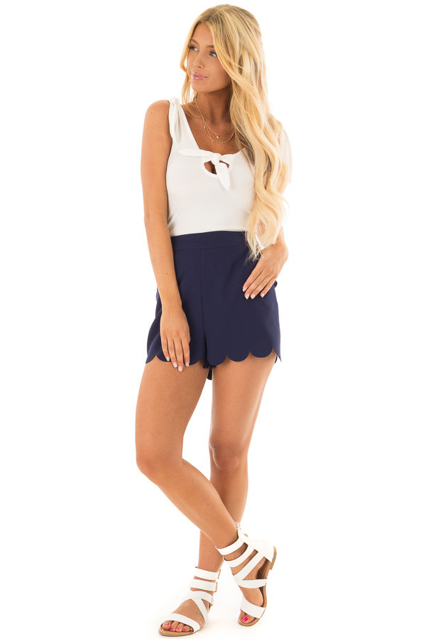 Ivory Sleeveless Body Suit with Front Tie front full body