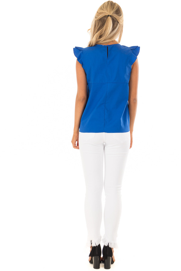 Royal Blue Flutter Sleeve Top with Front Tie Detail back full body