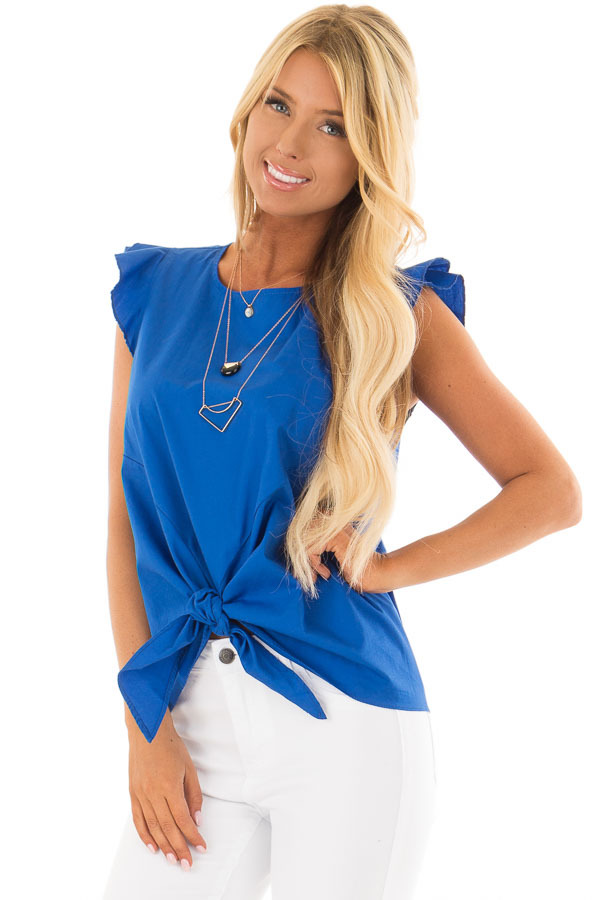 Royal Blue Flutter Sleeve Top with Front Tie Detail front close up