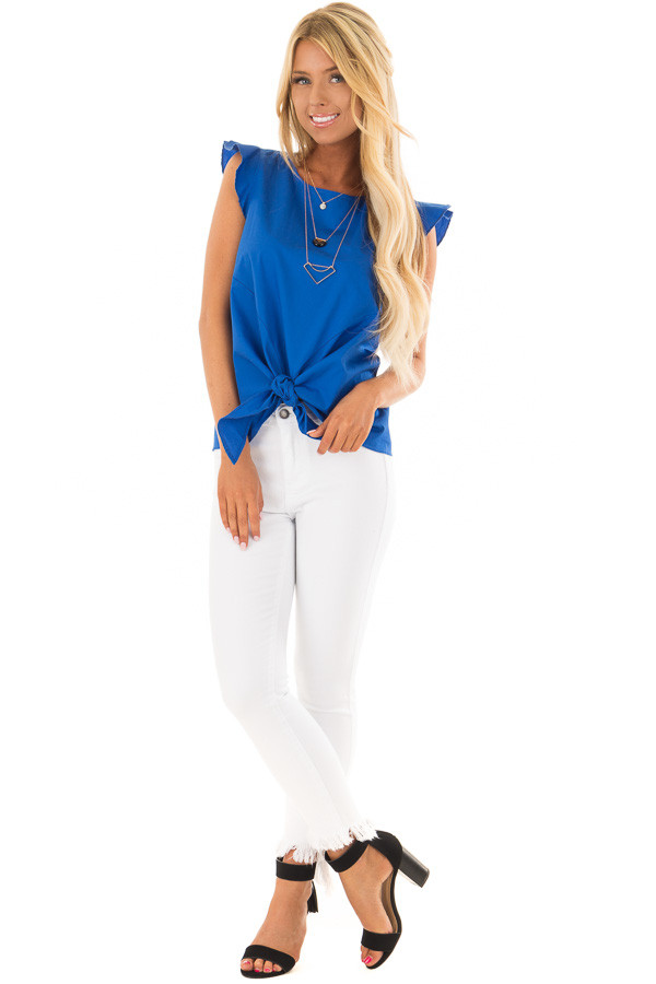 Royal Blue Flutter Sleeve Top with Front Tie Detail front full body