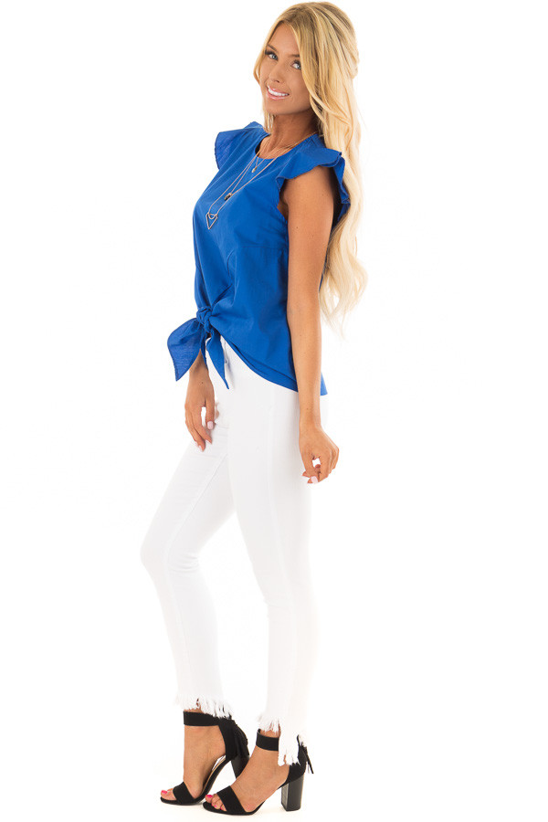 Royal Blue Flutter Sleeve Top with Front Tie Detail side full body
